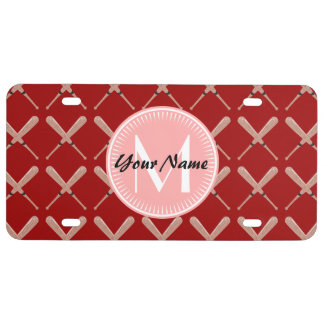 Coral and Red Baseball Bat Pattern Personalized License Plate