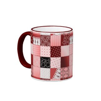 Coral and Red Patchwork Quilt Design Coffee Mugs