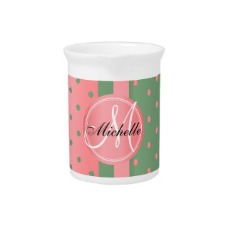 Coral and Sage Green Polka Dots Drink Pitcher