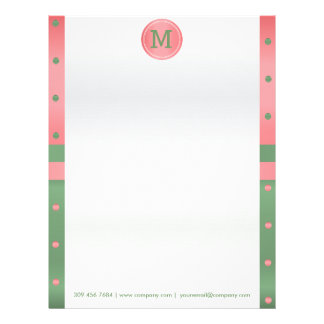 Coral and Sage Green Polka Dots Letterhead