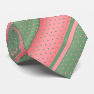 Coral and Sage Green Polka Dots Tie