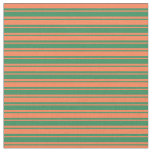 [ Thumbnail: Coral and Sea Green Lined Pattern Fabric ]