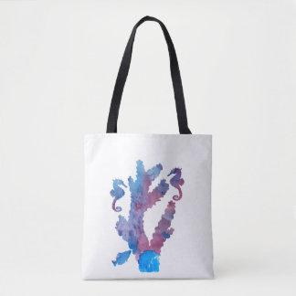 Coral and seahorses tote bag