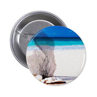 Coral and Shells on the Beach- Nautical Print Pinback Button