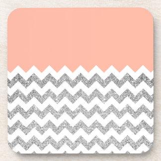 Coral and Silver Faux Glitter Chevron Coaster
