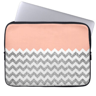 Coral and Silver Faux Glitter Chevron Computer Sleeve