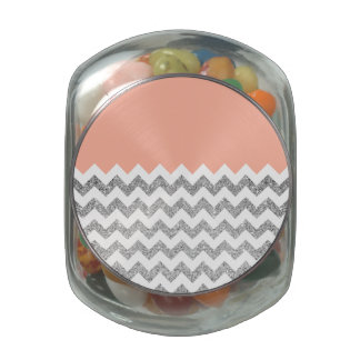 Coral and Silver Faux Glitter Chevron Glass Candy Jars
