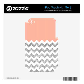 Coral and Silver Faux Glitter Chevron iPod Touch 4G Decal