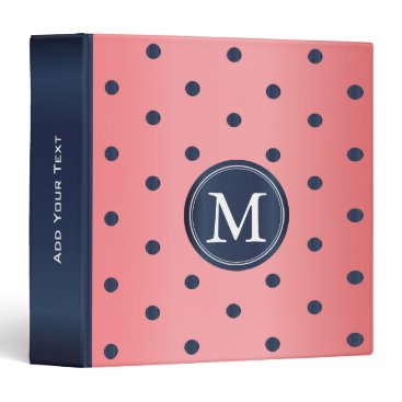 Professional Business Coral and Slate Blue Polka Dots Binder