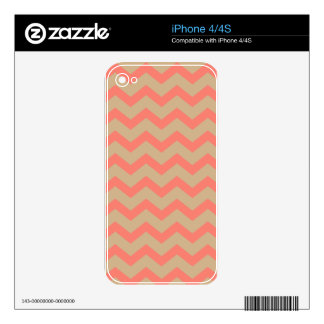 Coral and Tan Chevrons iPhone 4S Decal