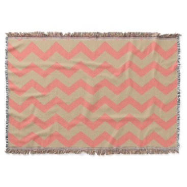 Beach Themed Coral and Tan Chevrons Throw