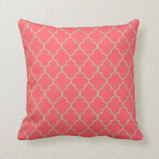 Coral and Tan Quatrefoil Design Throw Pillow