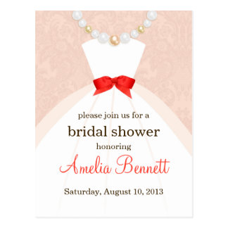 Coral and Taupe Damask Bridal Shower Invitation Postcard