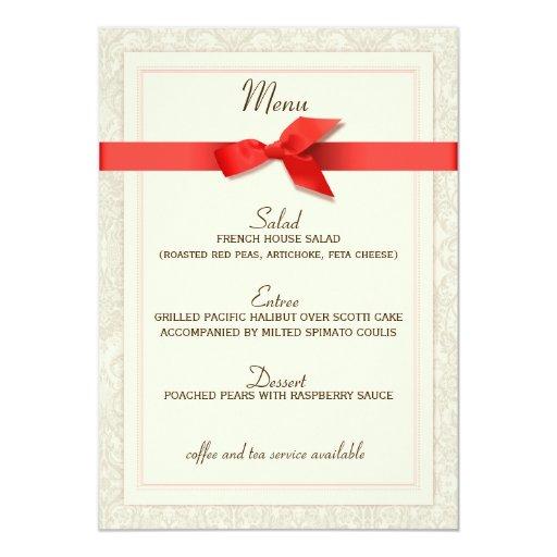 "Coral and Taupe Damask Wedding Menu 5"" X 7"" Invitation Card"