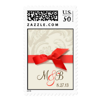 Coral and Taupe Damask Wedding Postage