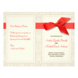 """Coral and Taupe Damask Wedding Program 8.5"""" X 11"""" Flyer"""