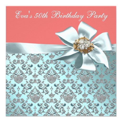 Coral and Teal Blue Damask 50th Birthday Party Custom Announcements