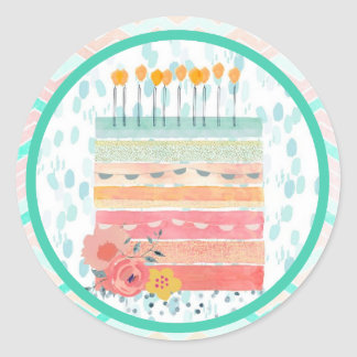 Coral and Teal Cake Wedding Favor Party Stickers
