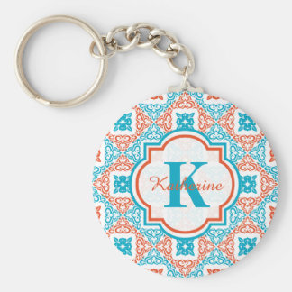 Coral and Teal Decorative Pattern Monogram Basic Round Button Keychain