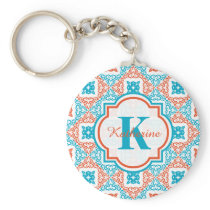 Coral and Teal Decorative Pattern Monogram Keychain