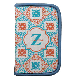 Coral and Teal Decorative Pattern Monogram Planner