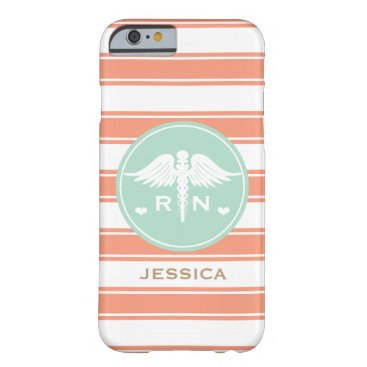 Beach Themed CORAL AND TEAL STRIPE CADUCEUS NURSE RN BARELY THERE iPhone 6 CASE