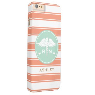 Beach Themed CORAL AND TEAL STRIPE CADUCEUS NURSE RN BARELY THERE iPhone 6 PLUS CASE