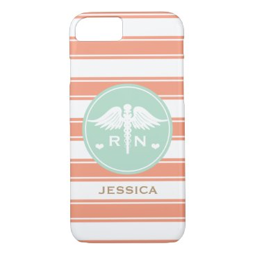Beach Themed CORAL AND TEAL STRIPE CADUCEUS NURSE RN iPhone 7 CASE
