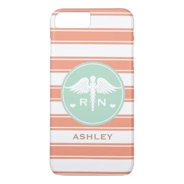 Beach Themed CORAL AND TEAL STRIPE CADUCEUS NURSE RN iPhone 7 PLUS CASE