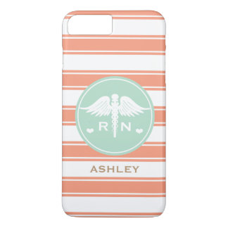 CORAL AND TEAL STRIPE CADUCEUS NURSE RN iPhone 8 PLUS/7 PLUS CASE