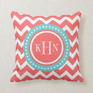 coral and turquoise chevron monogram throw pillow