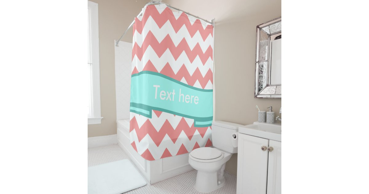 coral and turquoise chevron pattern shower curtain zazzle