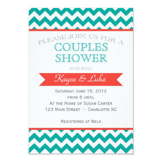 Coral and turquoise Chevron Shower Invitation