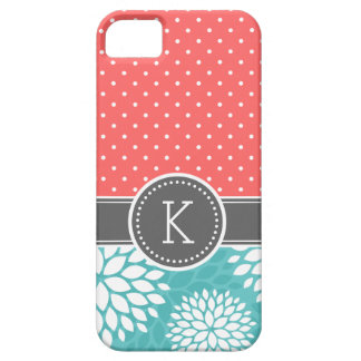 Coral and Turquoise Monogram Polka Dot Floral iPhone 5 Case