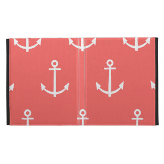Coral and White Anchors Pattern 1 iPad Folio Case