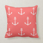 Coral and White Anchors Pattern 1 Pillow