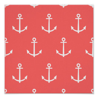Coral and White Anchors Pattern 1 Poster