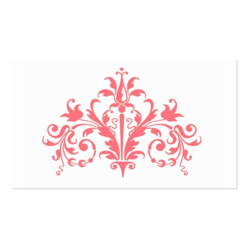 Coral and White Baroque Business Card