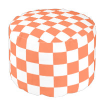 Coral and White Checked Pouf