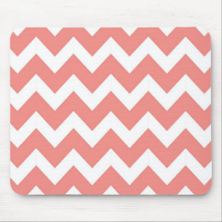 Coral and White Chevron Mouse Pad