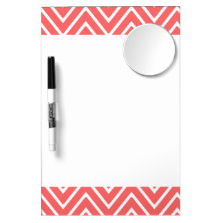 Coral and White Chevron Pattern 2 Dry Erase Board