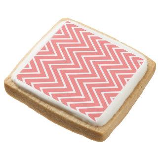 Coral and White Chevron Pattern 2 Square Shortbread Cookie