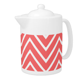 Coral and White Chevron Pattern 2 Teapot