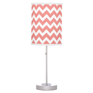 Coral and White Chevron Table Lamp