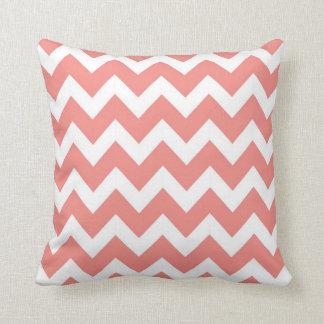 Coral and White Chevron Throw Pillow