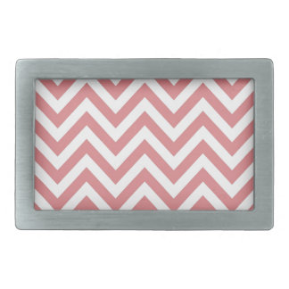 Coral and White Chevron Zigzag Pattern Belt Buckle