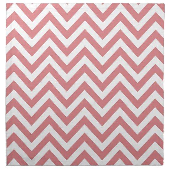 Coral and White Chevron Zigzag Pattern Cloth Napkin