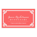 Coral and White Chic Greek Key Border Double-Sided Standard Business Cards (Pack Of 100)