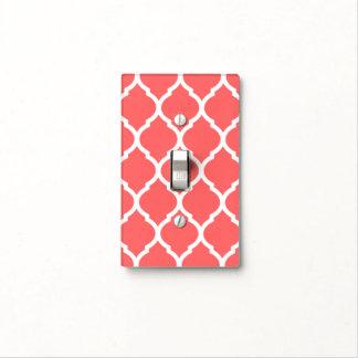 Coral and White Chic Moroccan Lattice Light Switch Cover
