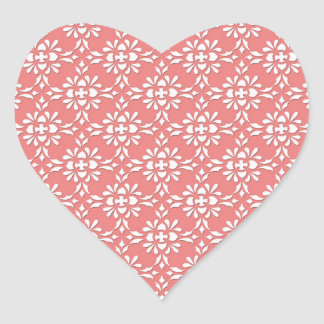 Coral and White Damask Style Pattern Heart Sticker